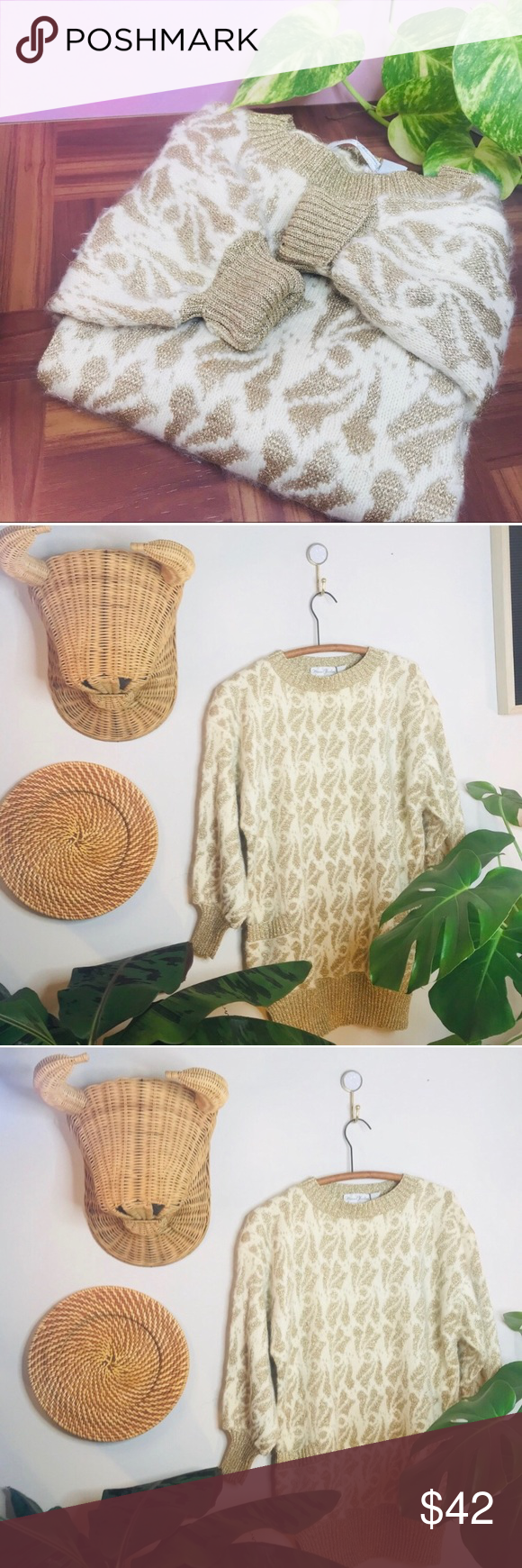 vtg vsco 80s Gold Shimmer Oversized Sweater Tunic Vintage Retro 80's Gold Shimmer Oversized Sweater Tunic  • no tags but would fit a medium or sma...