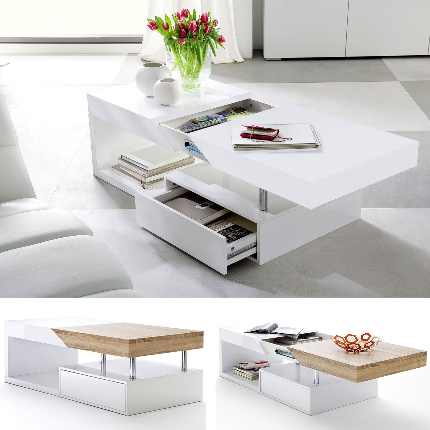 Modanuvo White Black Gloss Oak Extending Storage Coffee Table With Drawer Ebay Coffee Table With Drawers Coffee Table Coffee Table White [ 1400 x 1400 Pixel ]