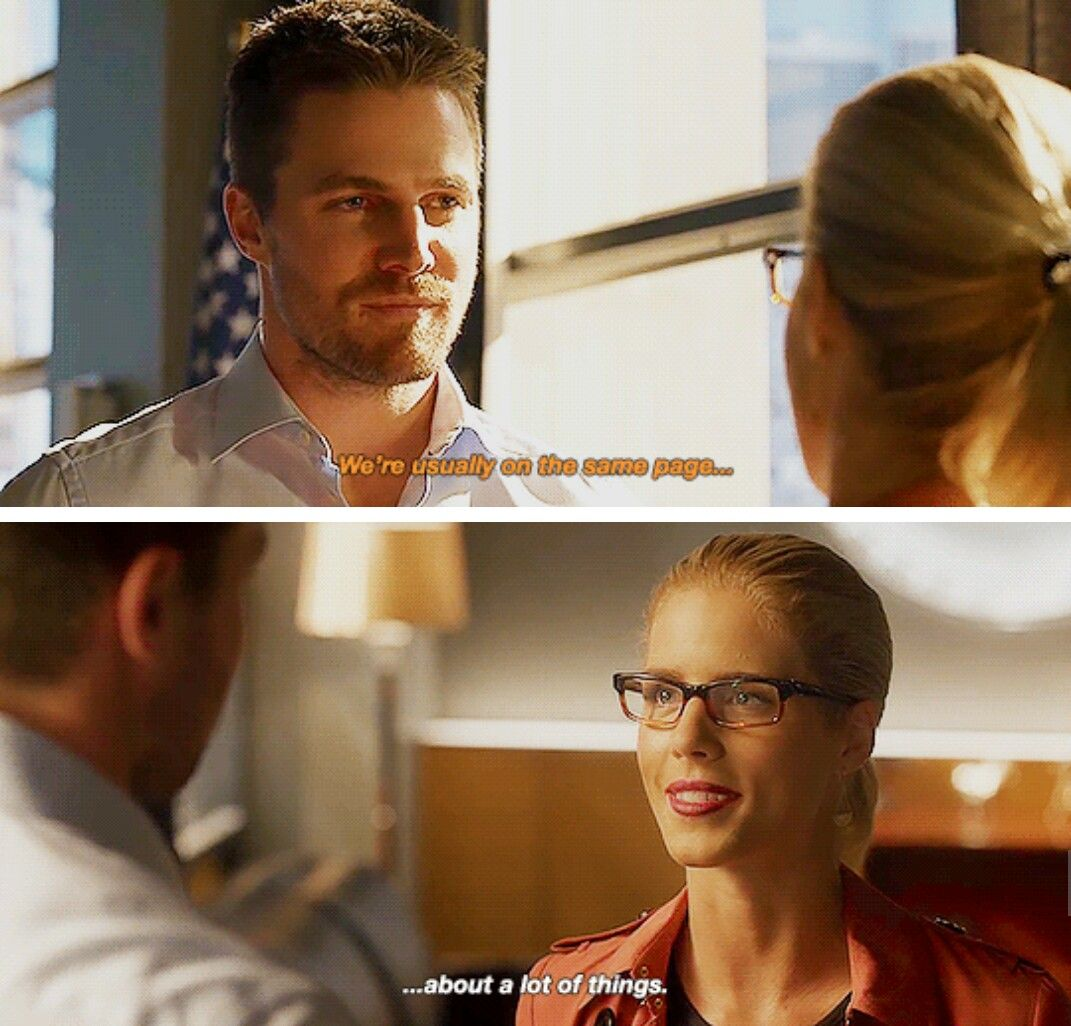"""""""We're usually on the same page..."""" - Oliver and Felicity #Arrow ((Aww, finishing each other's sentence!!))"""