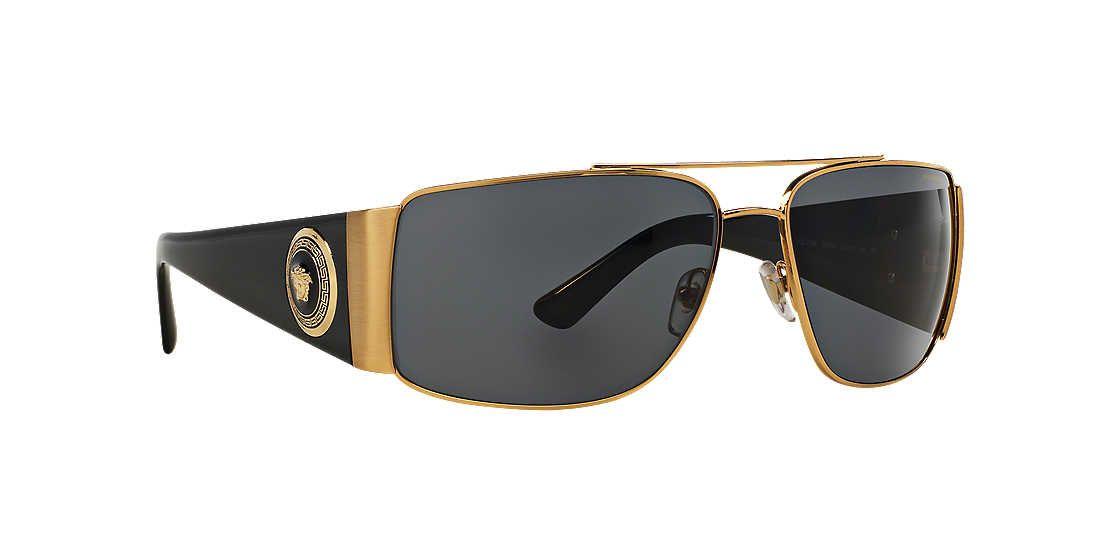 9d03ae4c3b2 Versace VE2163 63 Grey   Gold Polarized Sunglasses