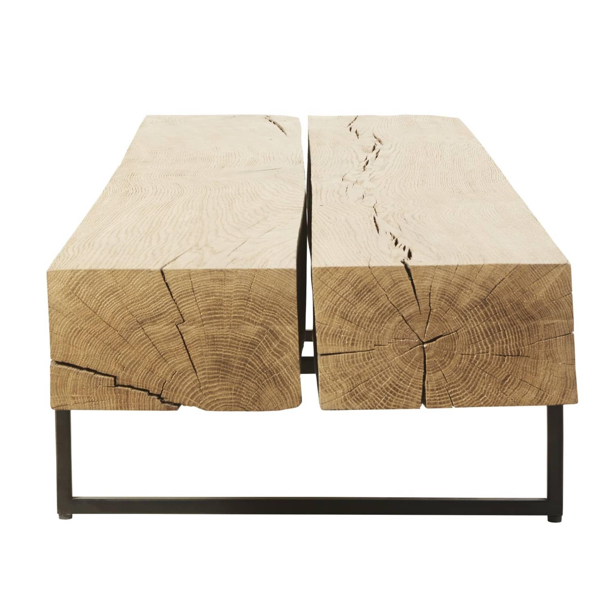 Table Basse En Chene Massif Et Metal Noir Magnus Maisons Du Monde Table Basse Chene Table Basse Bois Brut Table Basse
