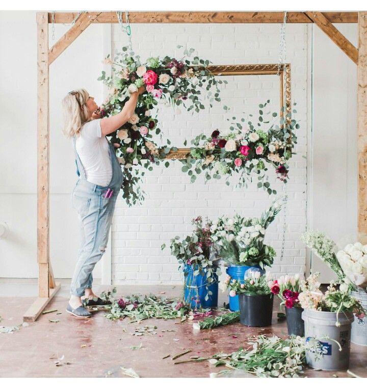 Hochzeit  Vintage  Wedding  Fotoecke  Blumenrahmen