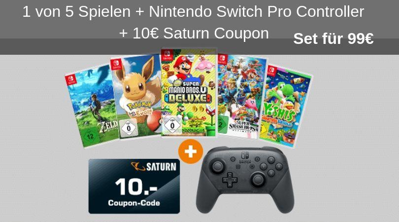 Angebot 1 Von 5 Spielen Nintendo Switch Pro Controller 10 Saturn Coupon Set Fur 99 Nintendo Switch Nintendo Und Spiele