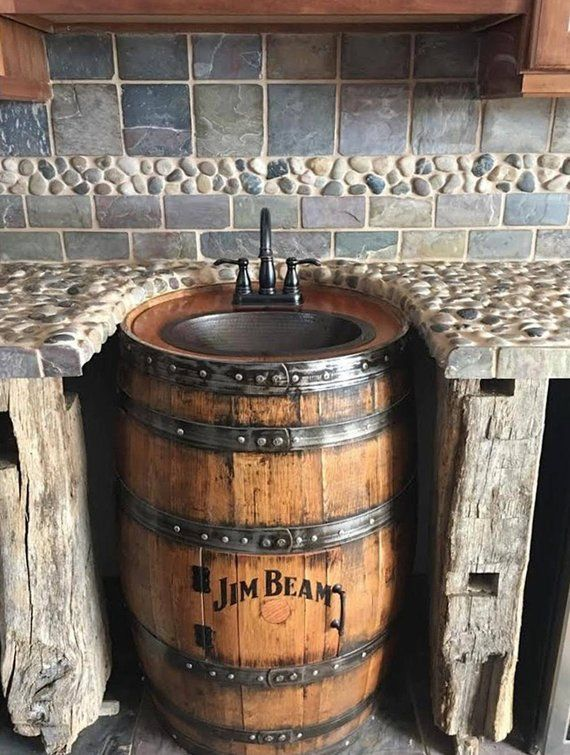 Photo of Personalized Whiskey Barrel Sink, Hammered Copper, Rustic Antique Bath / Bar / Man Cave Vanity, Wine, Oak, Barrel Vanity Bourbon