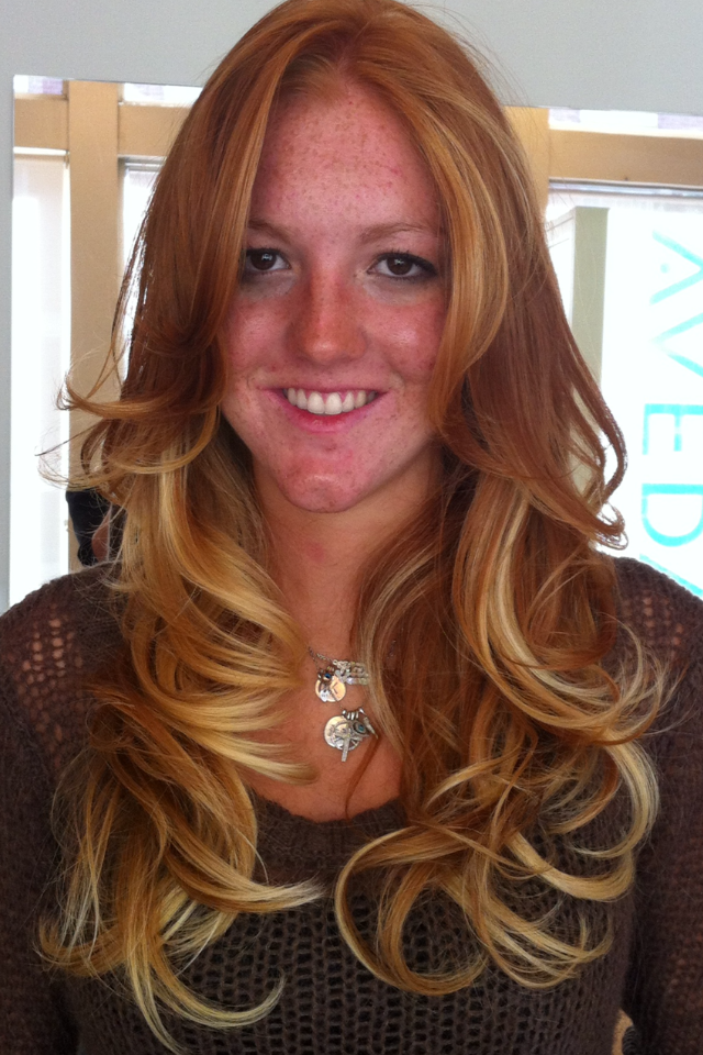 Color Ideas For Natural Redheads : Before and after. natural redhead to a gorgeous warm ombré by