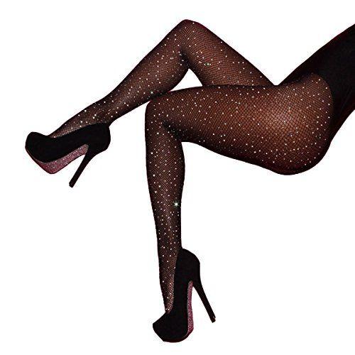 15d313515e9b0a HONENNA Sexy 3 Pairs Rhinestone Fishnet Stockings High Waist Tight Sparkle  Pantyhose for Women