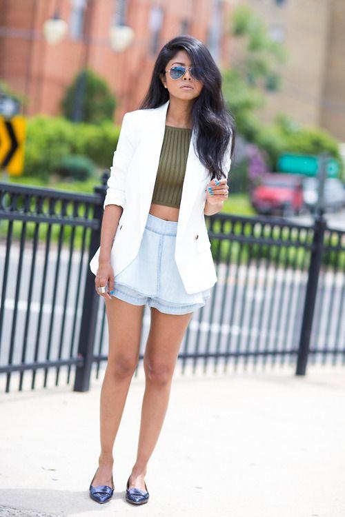 Women's White Blazer, Olive Cropped Top, Light Blue Denim Shorts ...