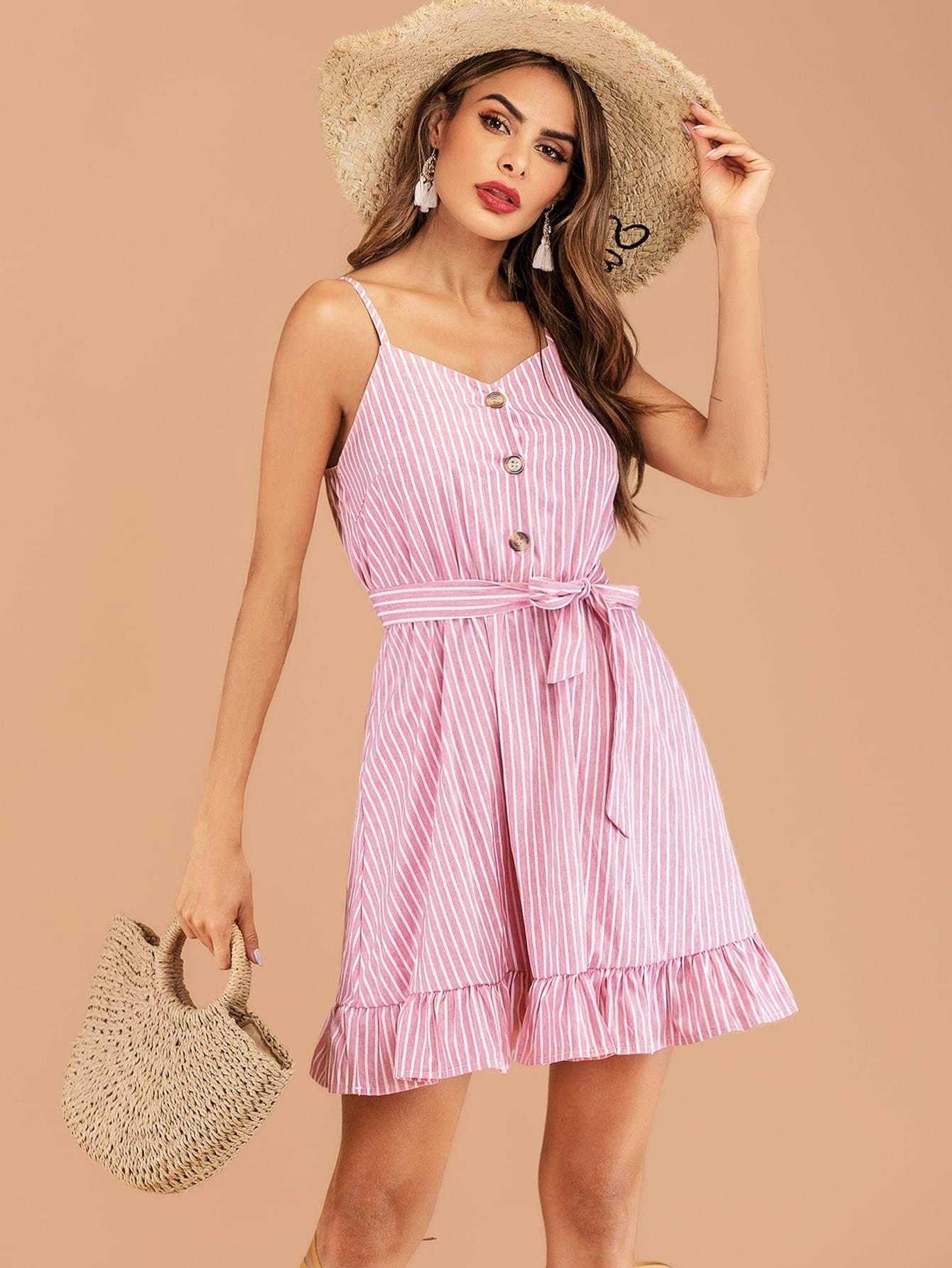 2f031a45abca Boho Striped Ruffle Hem Belted Summer Day Mini Dress - Popviva #sequin  #sequindress #