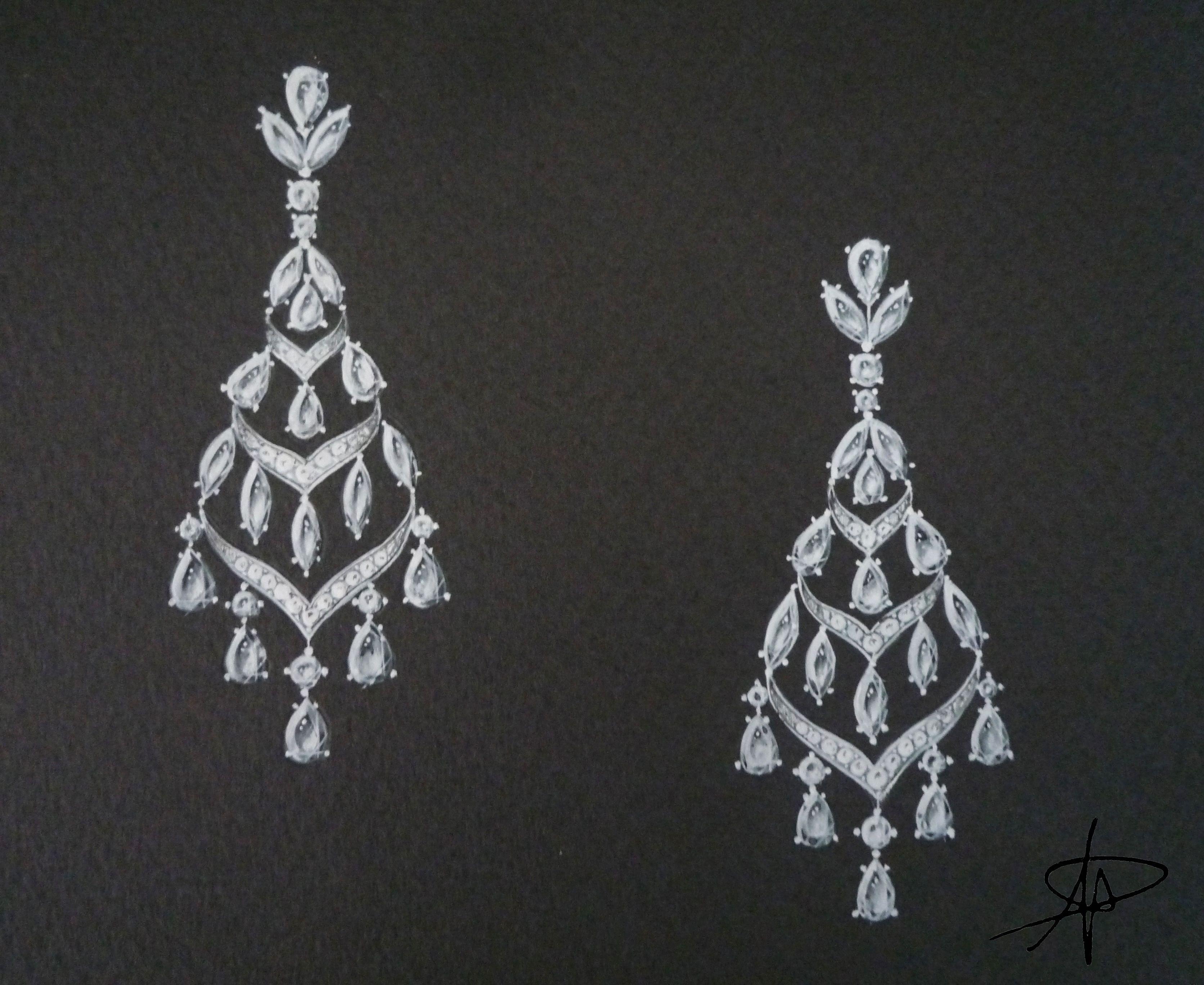 Arnaud Duron Classic Chandelier Diamond Earrings