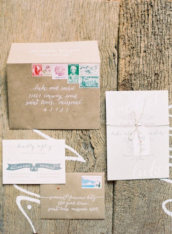 Great White Calligraphy On Pretty Paper, Vintage Stamps