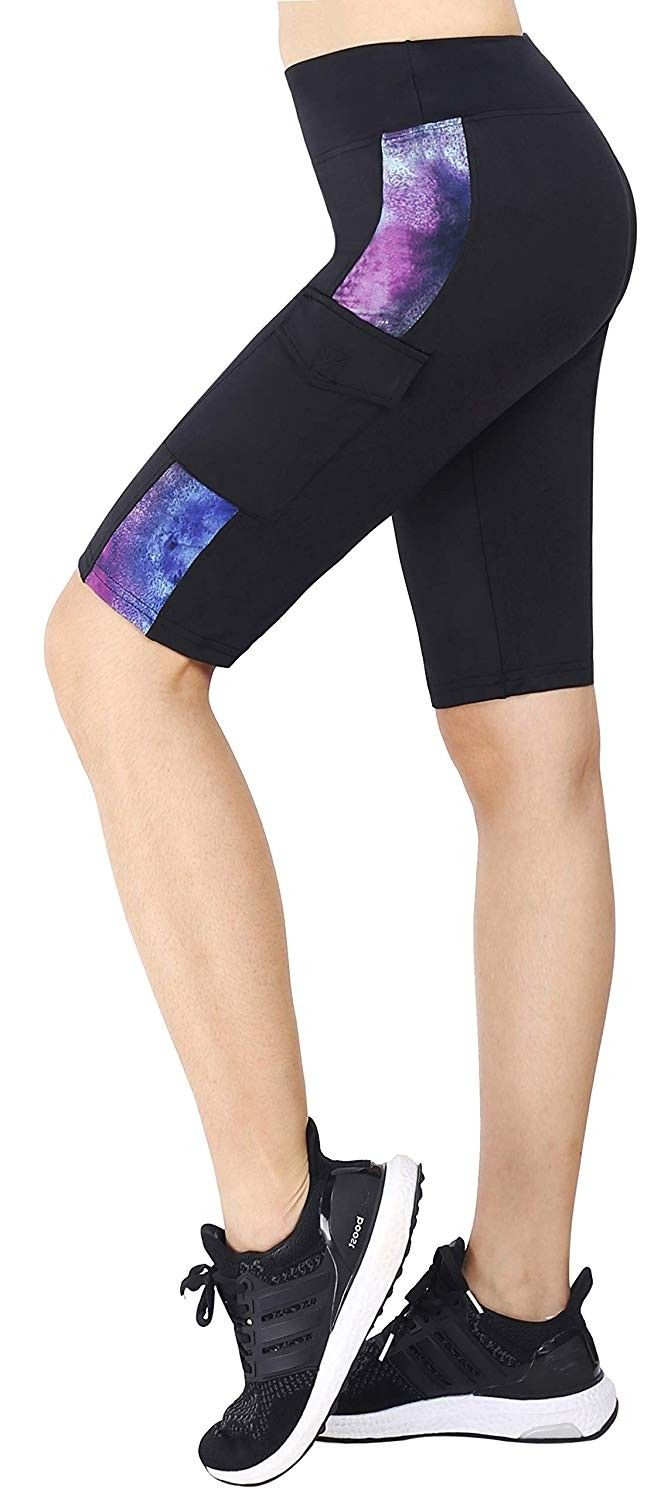 Women's Knee Length Tights Yoga Pants Running Leggings Side