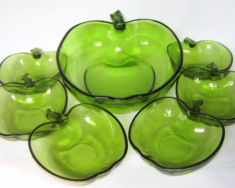 Vintage 1960s Hazel Atlas Apple Salad Set in 2019 | Apple ...