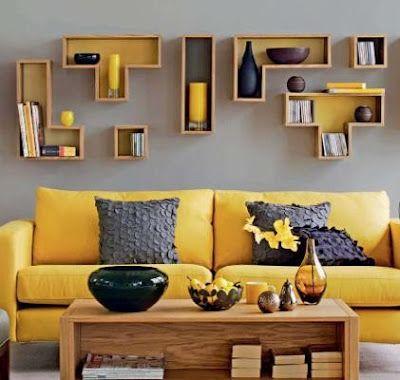 Estante Tetris Grey And Yellow Living Room Living Room Grey Gray Living Room Design