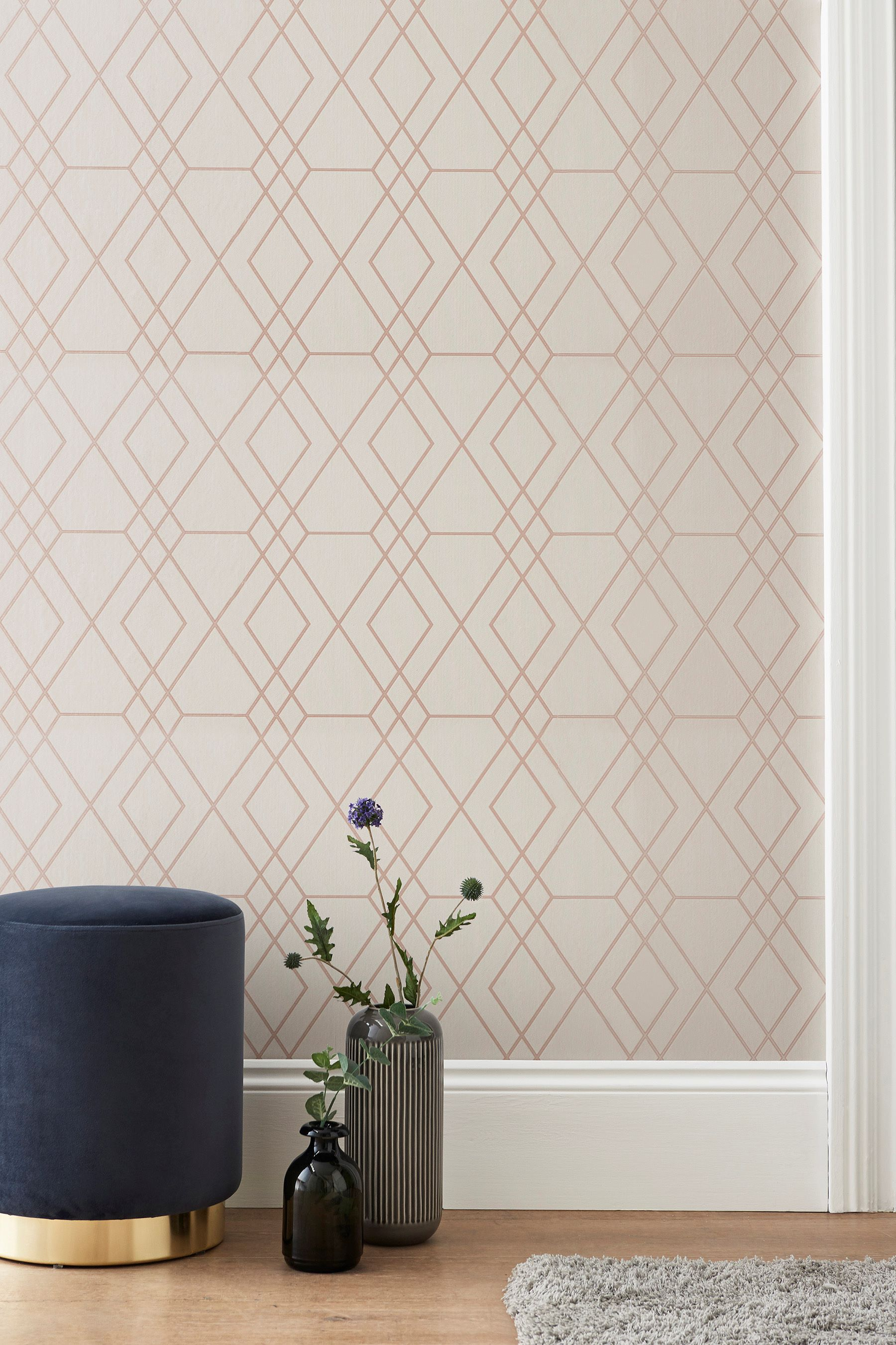 Next Paste The Wall Rose Gold Geo Wallpaper Mink Geo Wallpaper Striped Wallpaper Wallpaper Uk