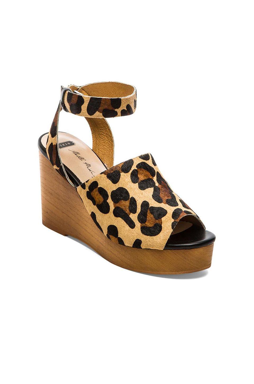 SOLES X SKIN Trey Cow Hair Wedge in Tan Leopard | REVOLVE