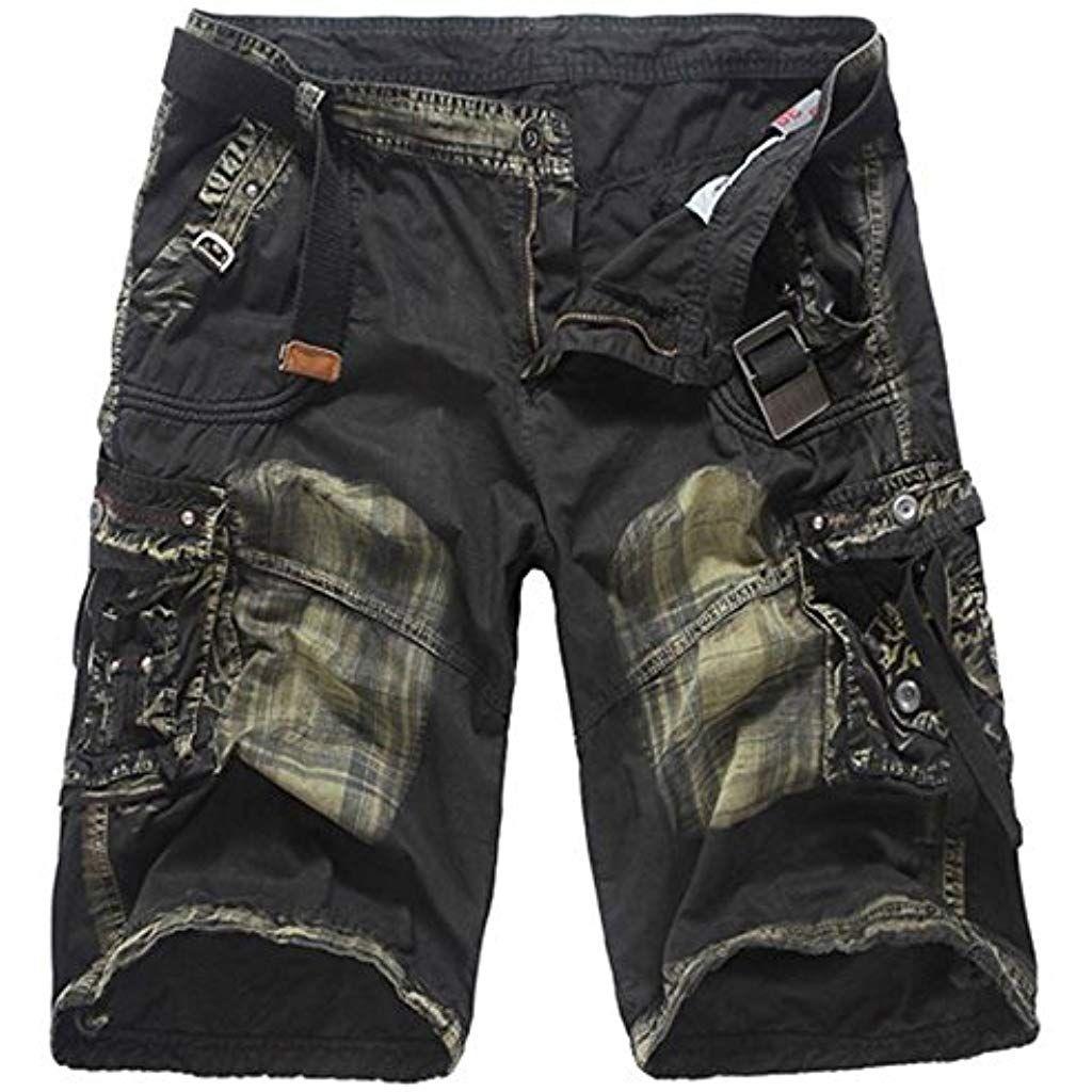 Sonnena Homme Bermudas Militaire Camouflage Shorts Jeans Cargo Multi Poches  Vintage Pantacourt de Sport en Plein Air Bouton Zipper  pantalons ... 9061ff9db9f