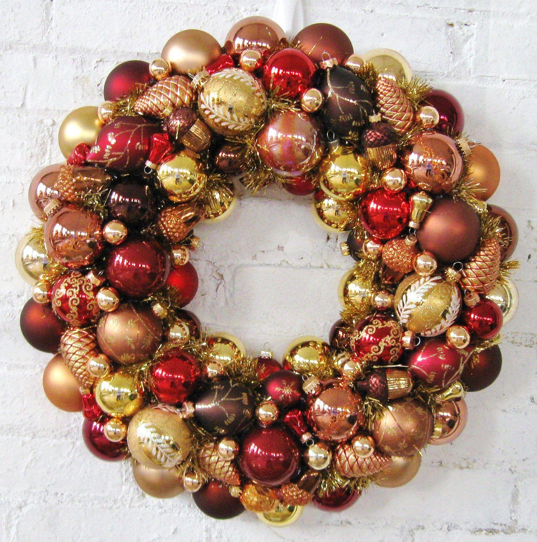 Autumn wreath copper bronze gold christmas ornaments
