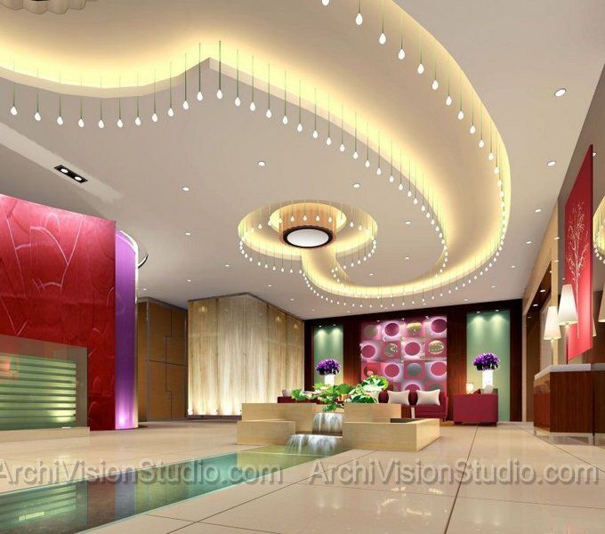 Wow salon that ceiling treatment makes a statement for Beauty salon designs for interior