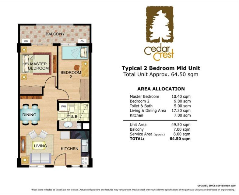 Cedar Crest 2 Bedroom Unit 64 5 Sqm Cedar Crest Cedar Bedroom Floor Plans