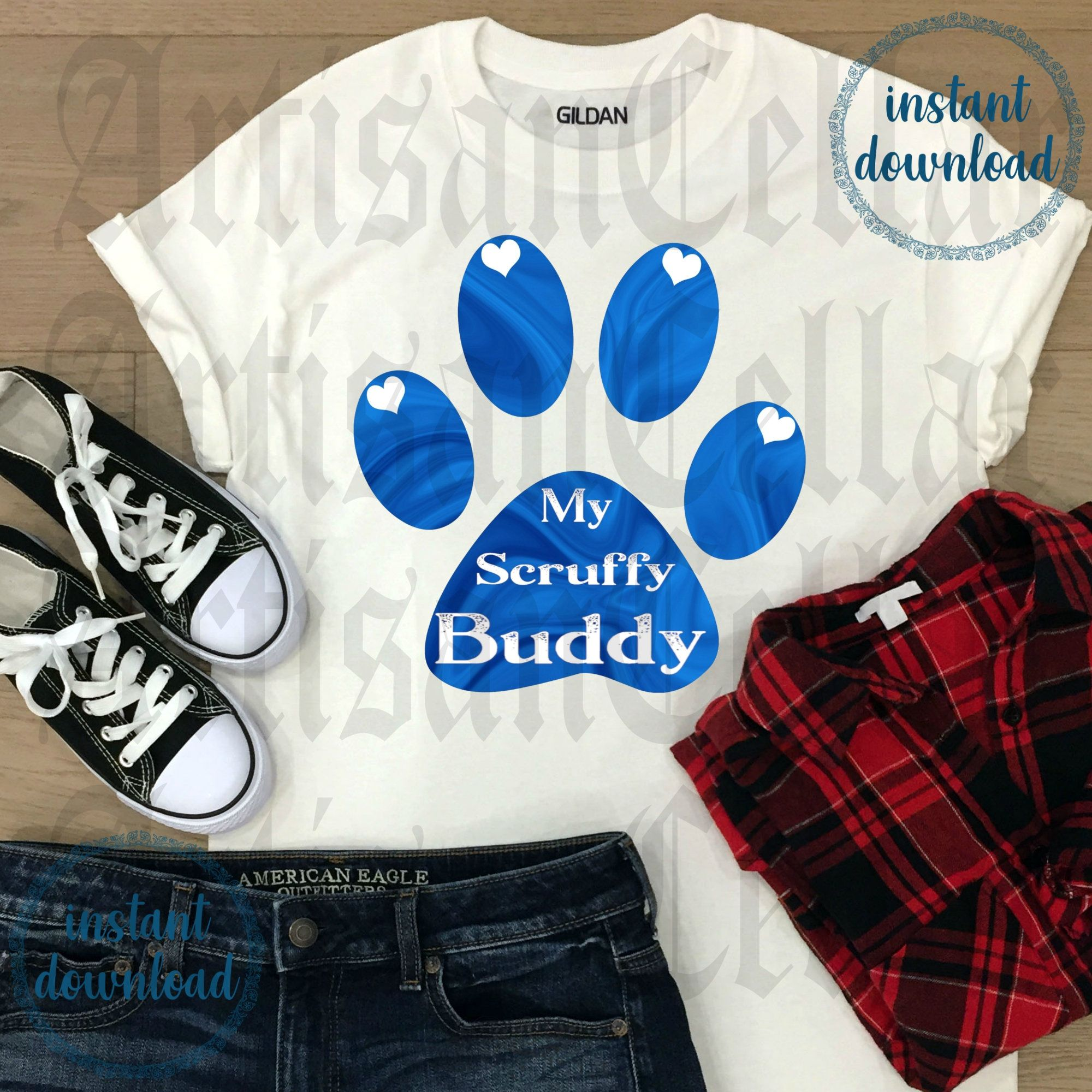 My Scruffy Buddy Blue 1 Humorous Quote JPG PNG tshirt mug