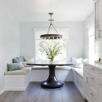 Cozy Breakfast Nook With Built In Banquette, Dark Round Table, Farmhouse  Chandelier,