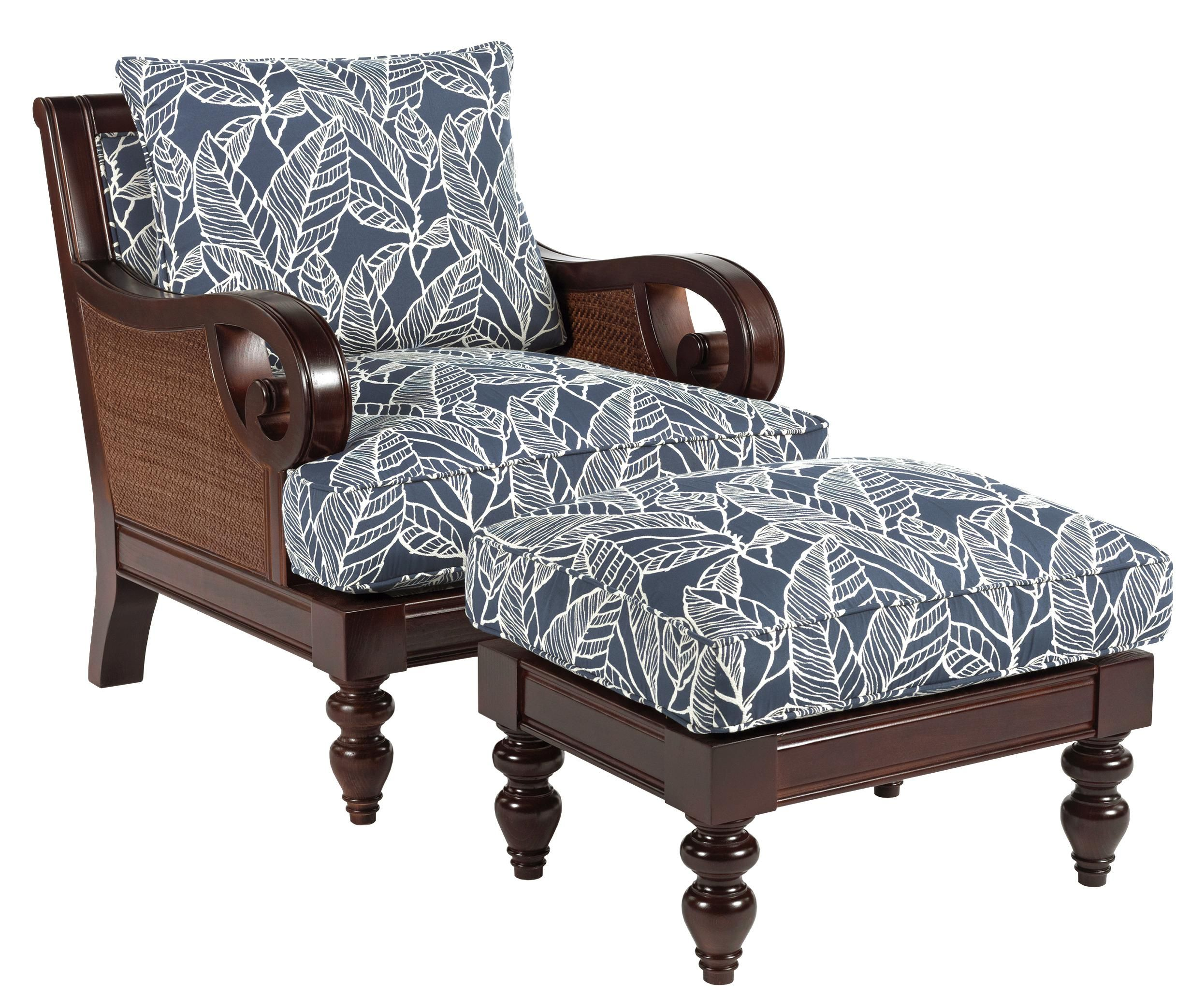 Tailynn Tropical Exposed Wood Chair And Ottoman Set By Sam Moore | Wolf  Furniture. Also