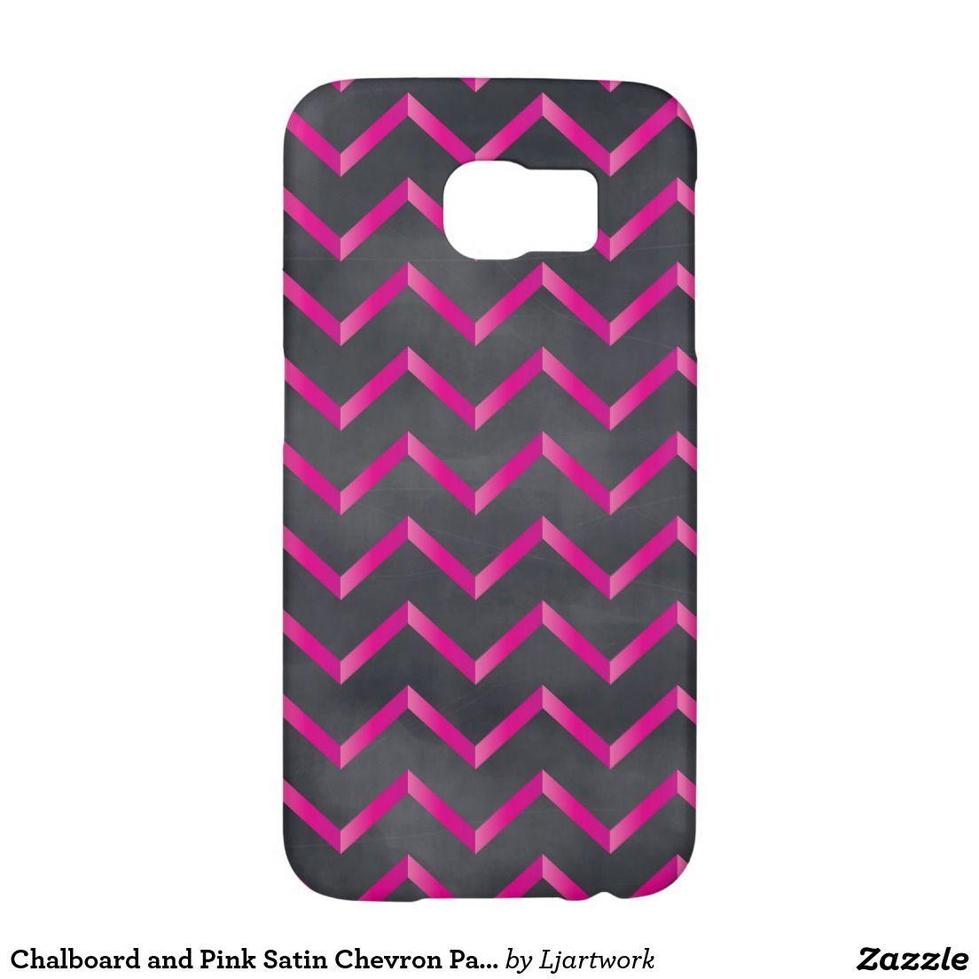 Chalboard and Pink Satin Chevron Pattern