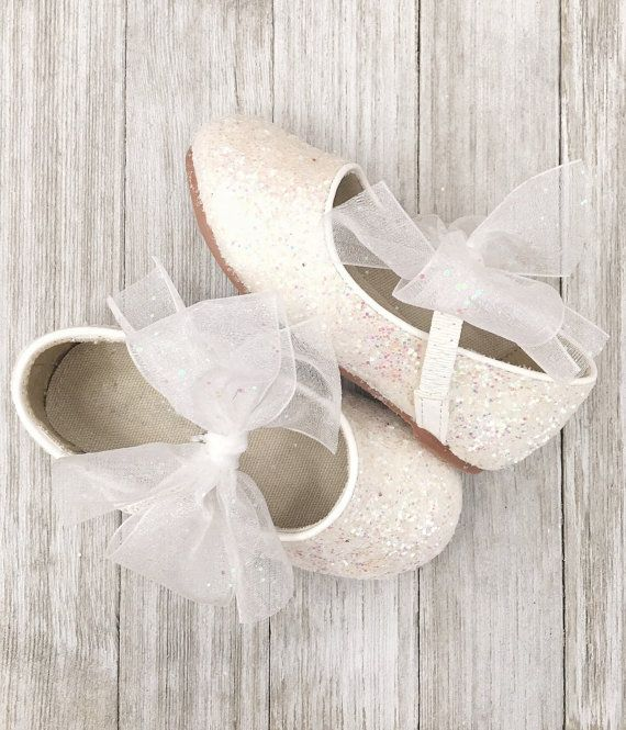 8104731cb2a53 WHITE Rock Glitter Maryjane Flats with WHITE CHIFFON Bow - For ...