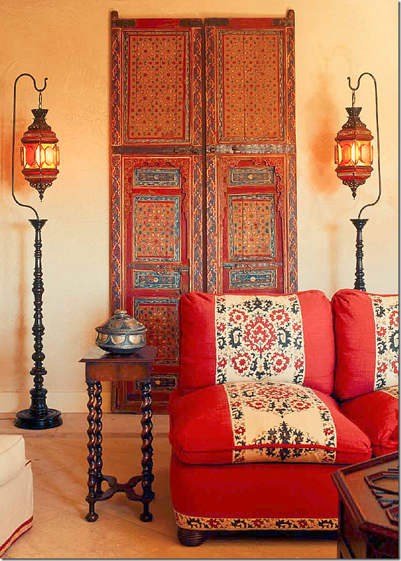 Moroccan doors Syrian lanterns cute BT side table Love the door