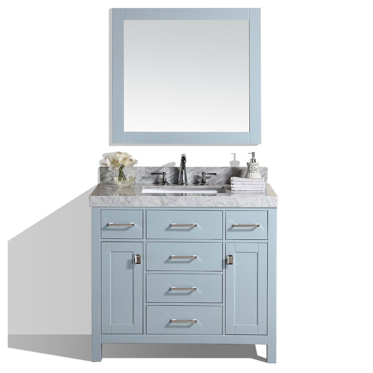 Pacific Collection 40-inch Malibu Gray Single Modern Bathroom Vanity With  White Top