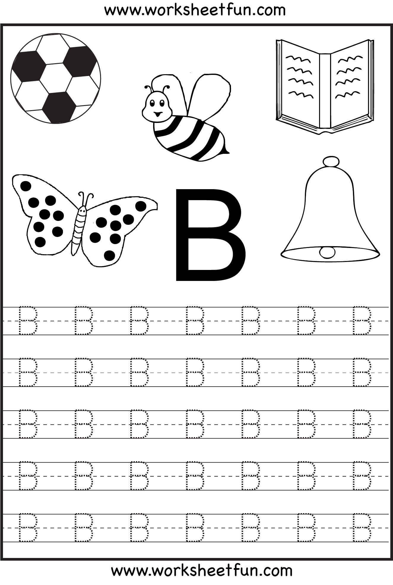 worksheet Letter B Worksheet free printable letter tracing worksheets for kindergarten 26 worksheets