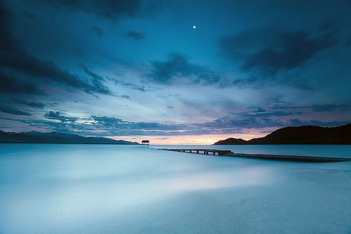 Smooth blue hour under the moon ( National Geographic photo of the day! )