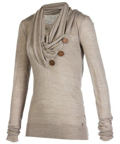 Stylish Cowl Neck Long Sleeve Button Design Draped Women's ...