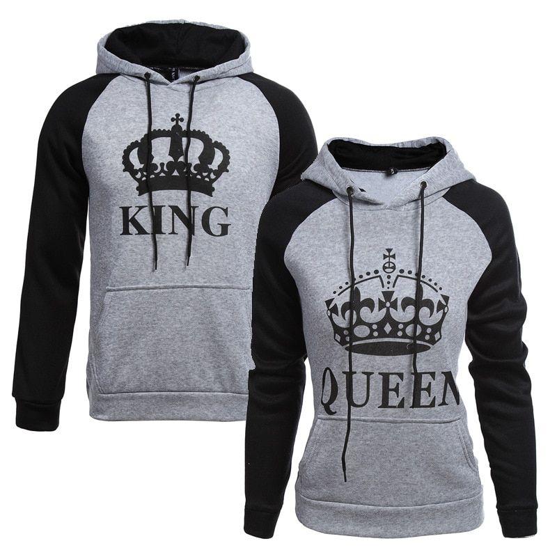 Men Hoodies King Queen Printed Sweatshirt Lovers Couples