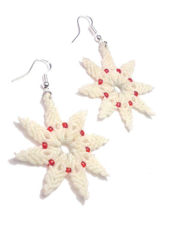 white macrame Christmas earrings  beaded earrings  by ImbaliCrafts