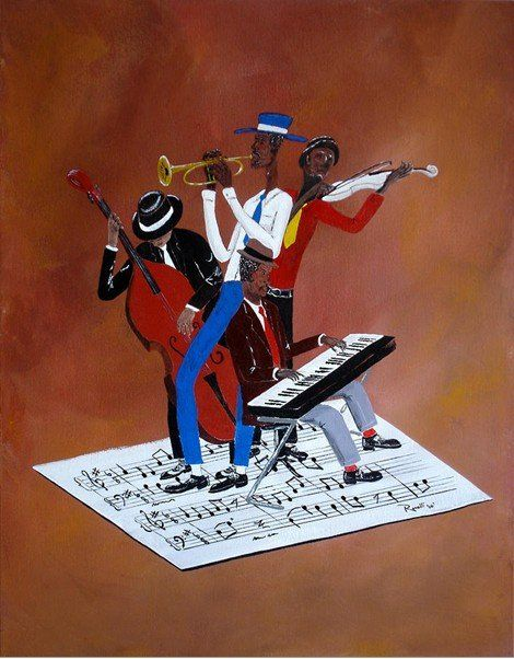 hand painted on canvas Musical Instruments oil paintings Susanne Clark-Funky Music,New artist play music high quality only(China (Mainland))...