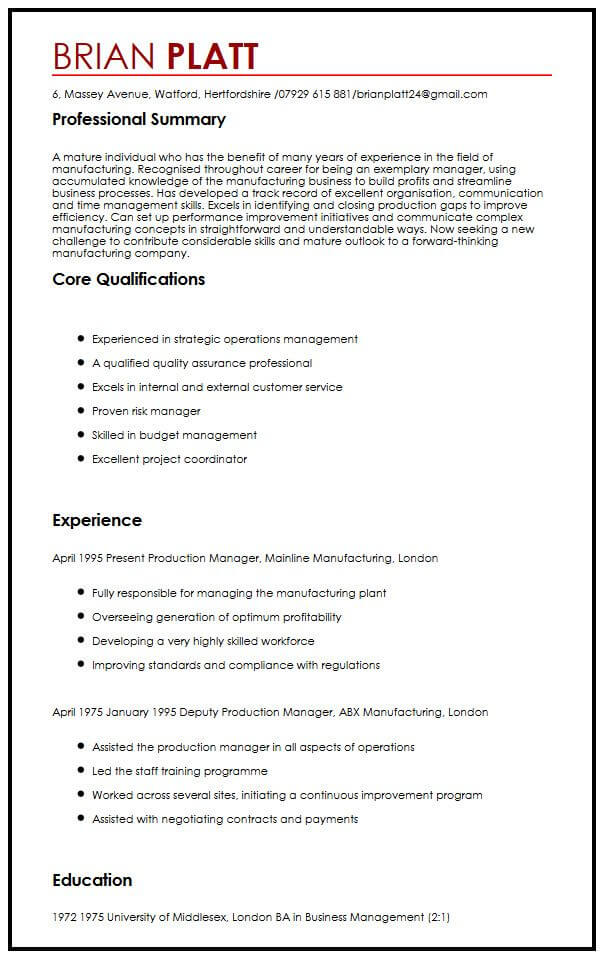 CV Sample for Workers Over 50 MyPerfectCV in 2020 Job