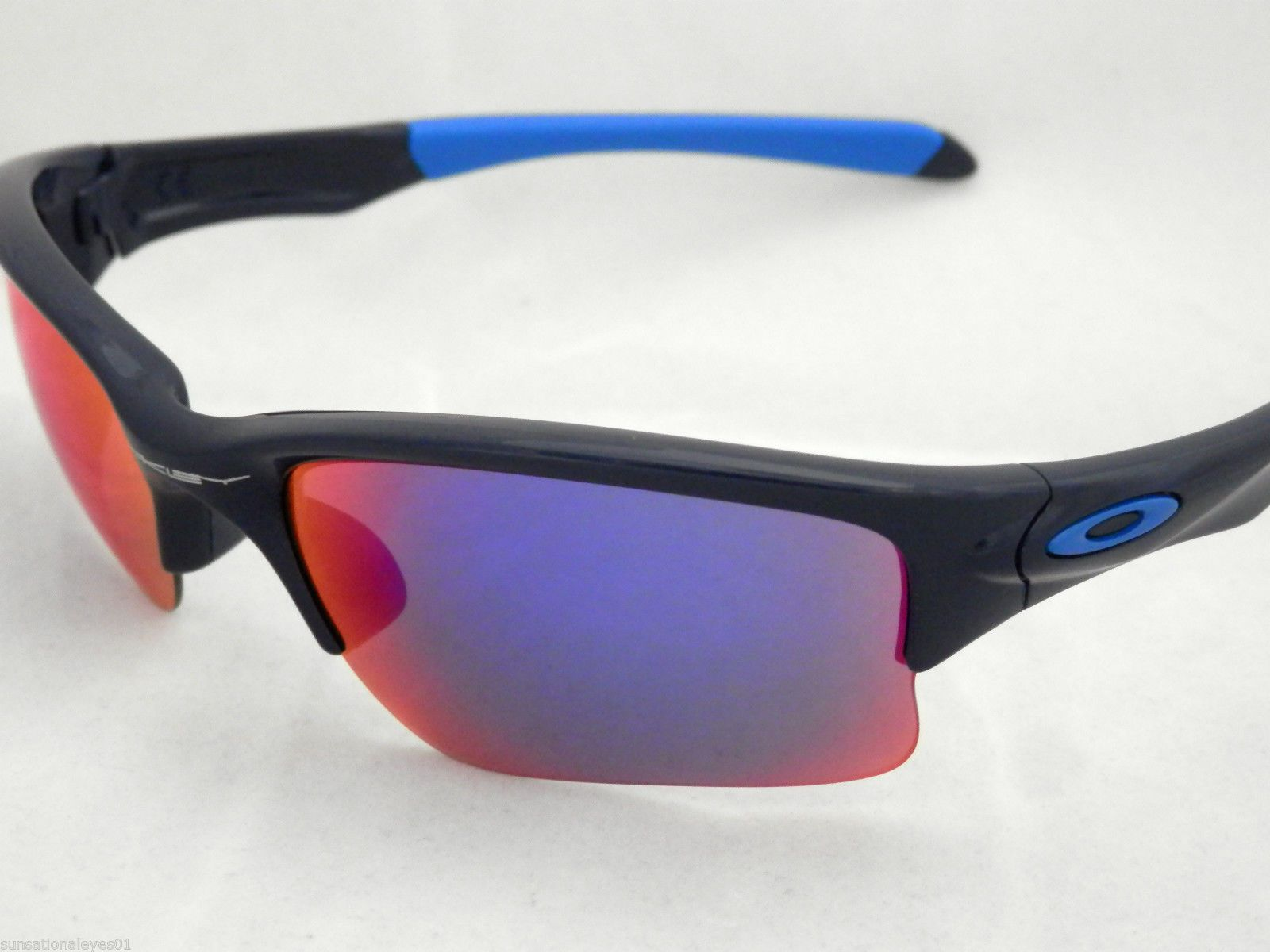 NEW OAKLEY QUARTER JACKET OO9200-04 YOUTH FIT IN NAVY WITH RED IRIDIUM LENS