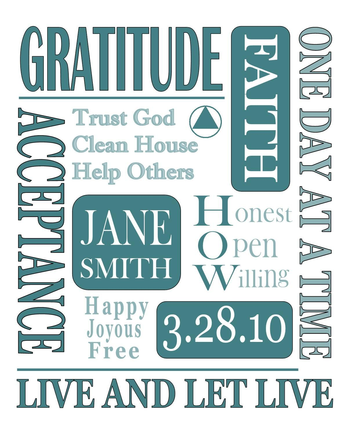 AA Recovery Gifts / TEAL/ Alanon Sponsor by ChangedAttitudes