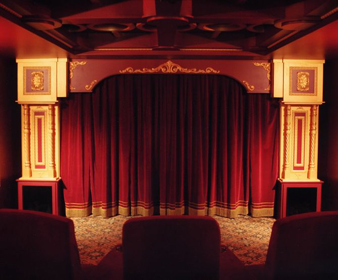 Theater Curtains And Molding Without The Ornate Capitals Theater Street  Scene Pinterest Red Curtains And Wallpaper