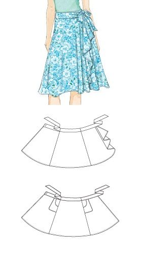 Wrap skirt with optional ruffle and pockets. #blousesewingpattern