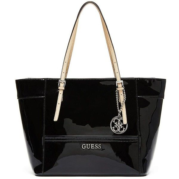 GUESS Delaney Patent Small Classic Tote (€82) found on Polyvore featuring  bags a38cde680ba0d