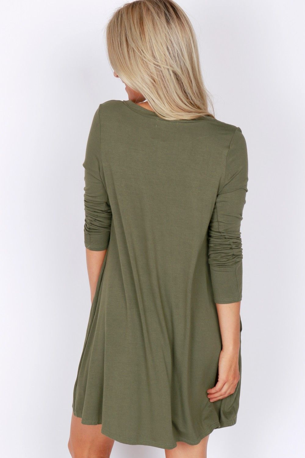Long sleeve vneck dress olive self expression through style
