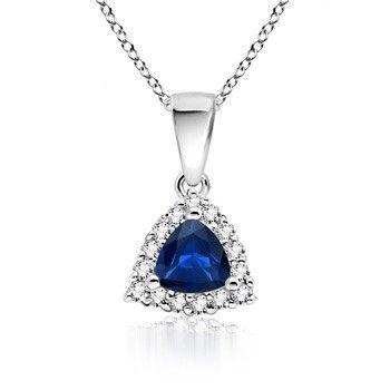 Angara Natural Sapphire and Diamond Pendant in Platinum GBcyZPaZ9n