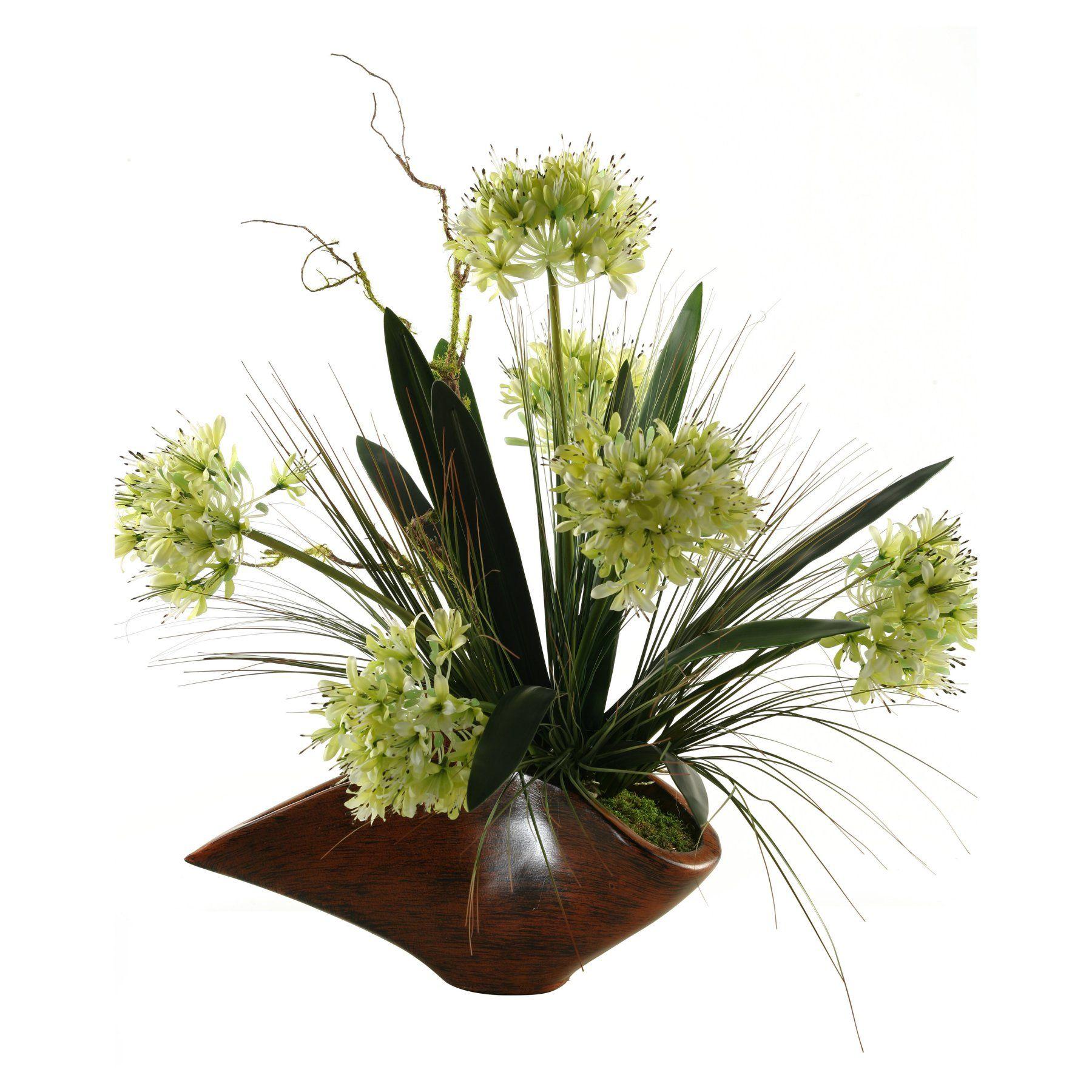 Dw Silks Agapanthus Silk Flower With Foliage Planter 149044