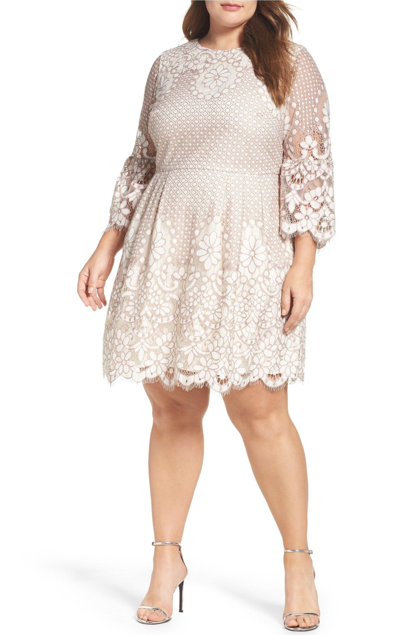 Main Image Eliza J Lace Fit & Flare Dress Plus Size
