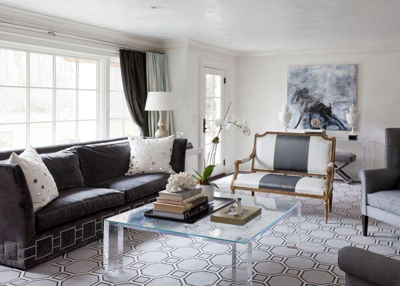 beige gray blue contemporary chic living room octagonal rug ...