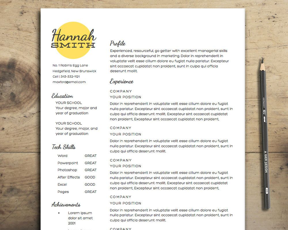Apple Store Resume Resume Template  The Smith Resume Design Instant Download .