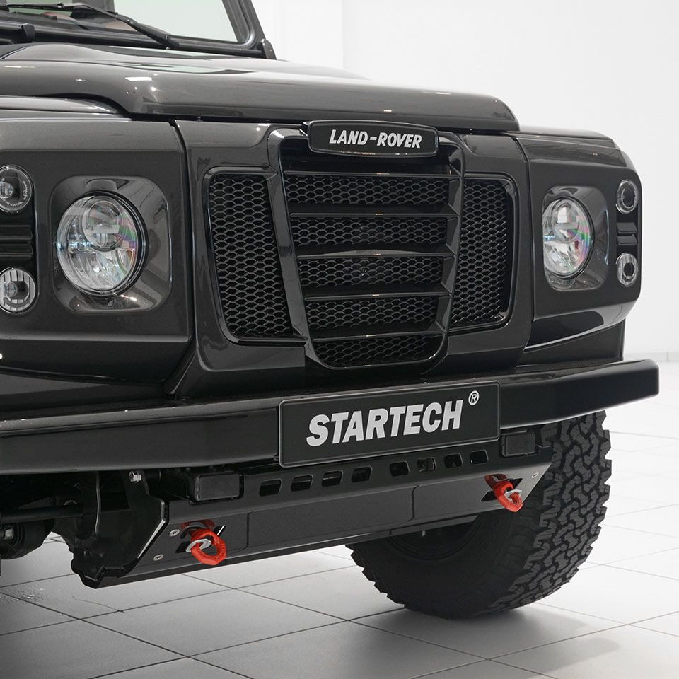 Outdoor tuning retro front grille with light surround for land rover defender