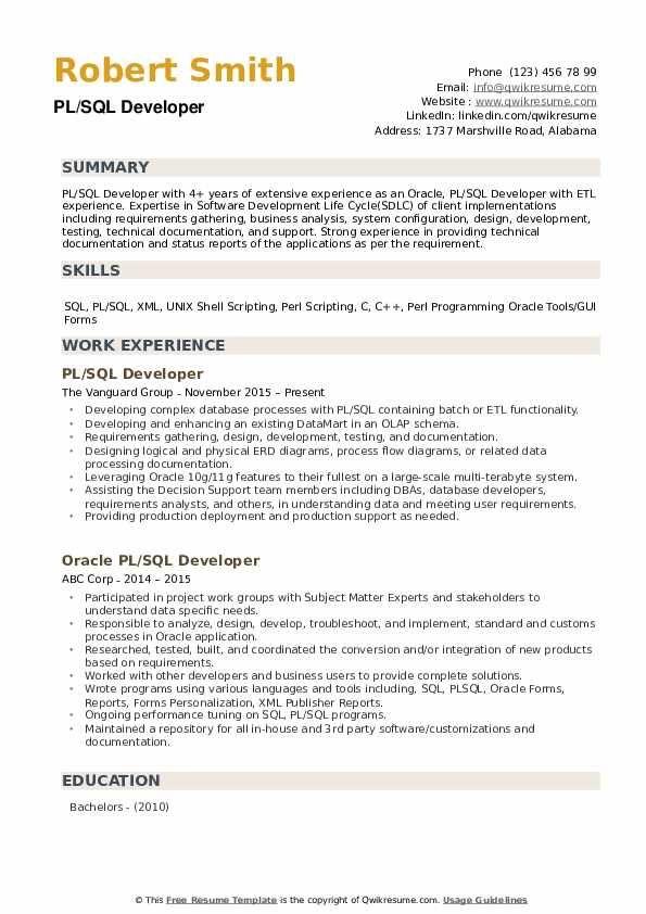Oracle Developer Fresher Resume